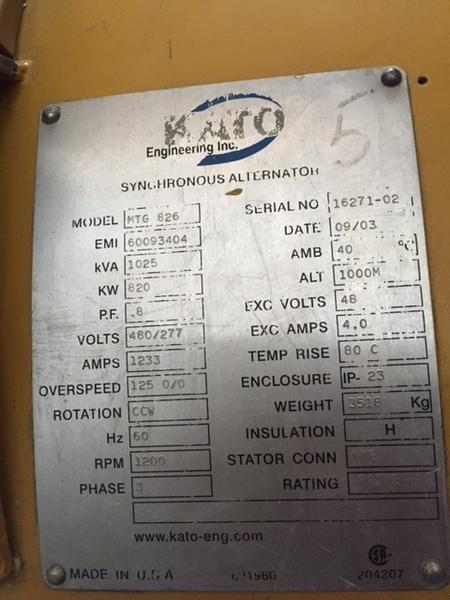 Kato 800KW Generator End