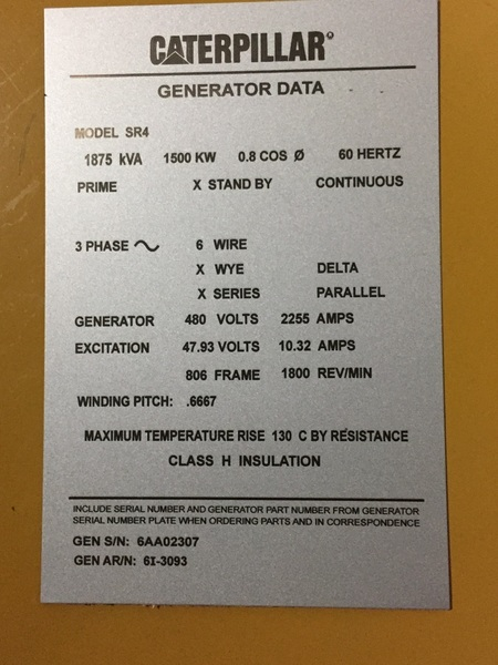 Reconditioned Caterpillar SR4 Generator End