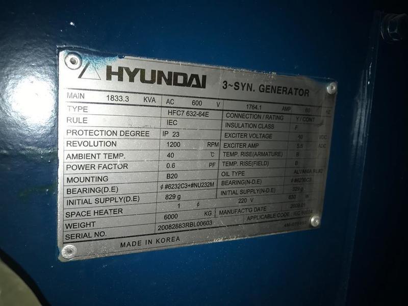 New Surplus Hyundai 1100KW Generator End