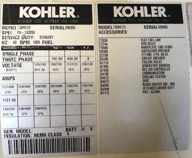 Kohler 750ROZD Diesel Generator